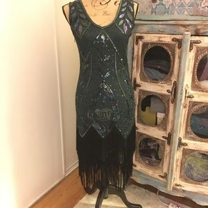 Metme Dresses - Great Gatsby Green 1920's Dress za